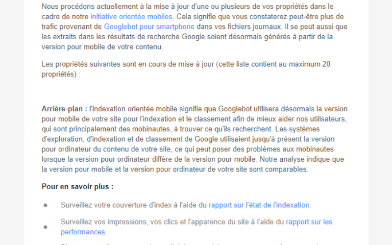 Message de Google : « Activation de l'indexation orientée mobiles »