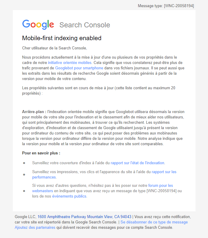 Google - Activation de l'indexation orientée mobiles