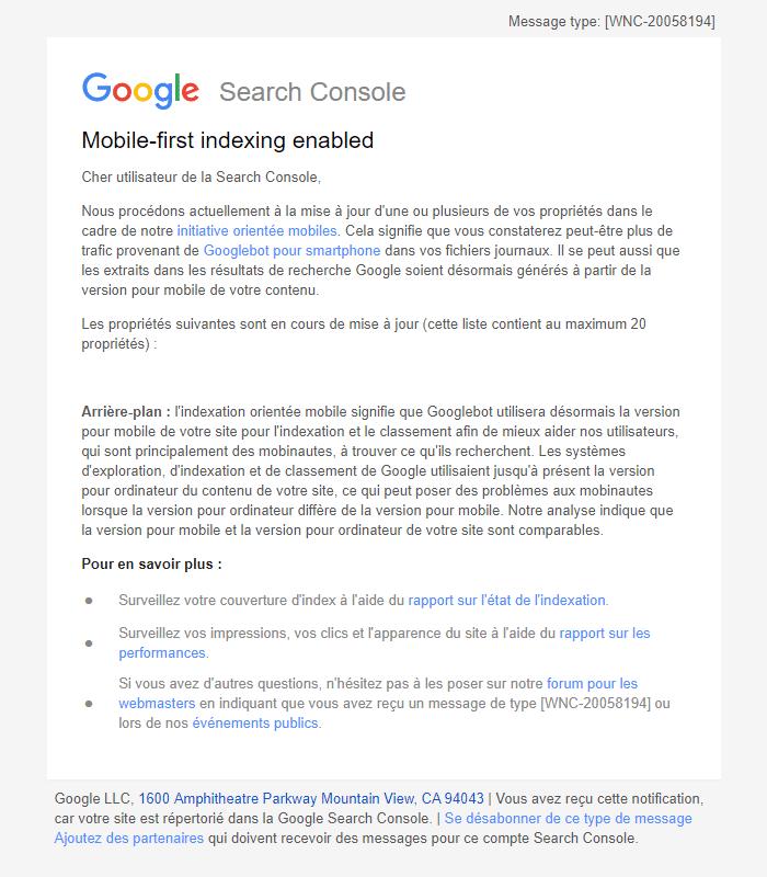Message De Google Activation De Lindexation Orientée