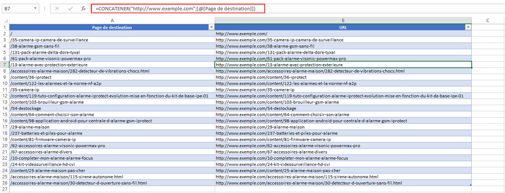 Excel : concatener