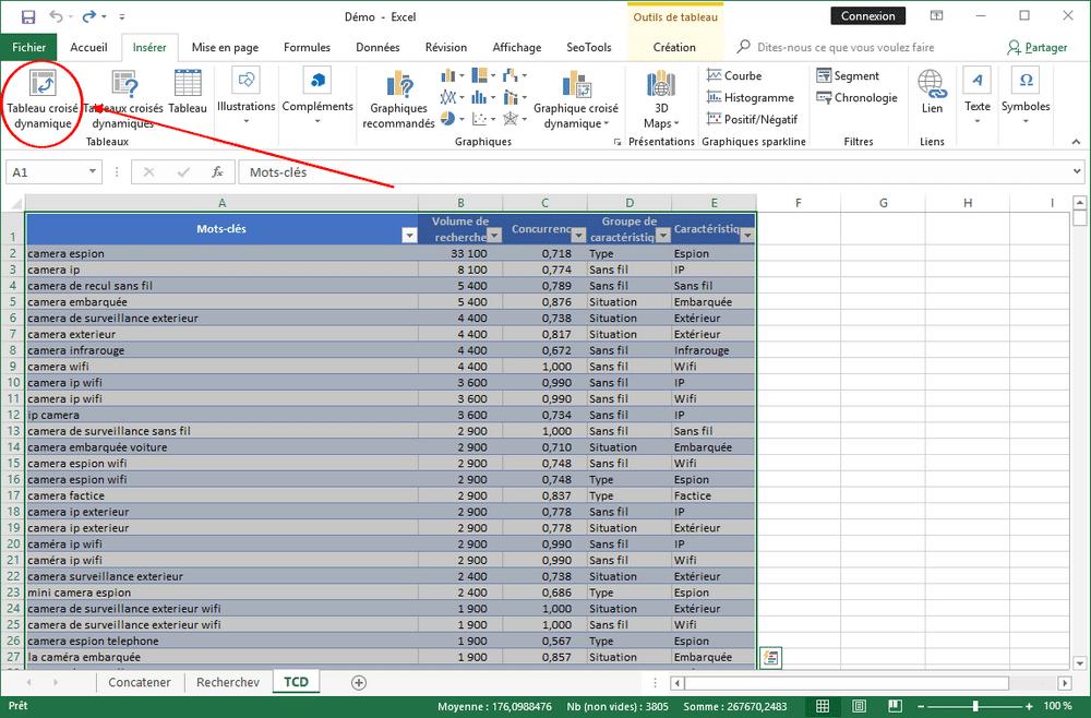 Excel : Tableau croisé dynamique