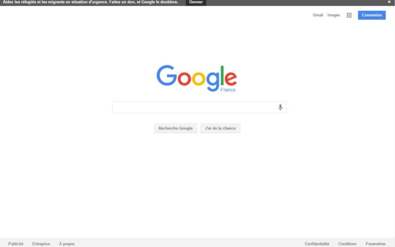 Google affiche une bannière pour encourager au don