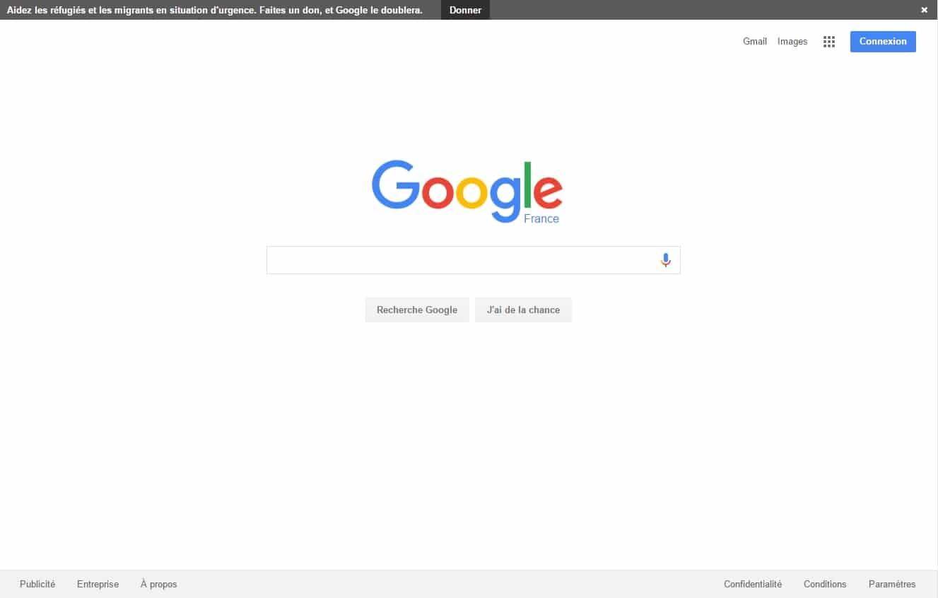 Google affiche une bannière pour encourage au don