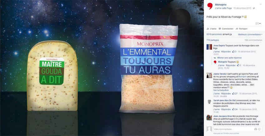 Monoprix : packaging humoristique en lien avec la sortie du dernier Star Wars sur Facebook